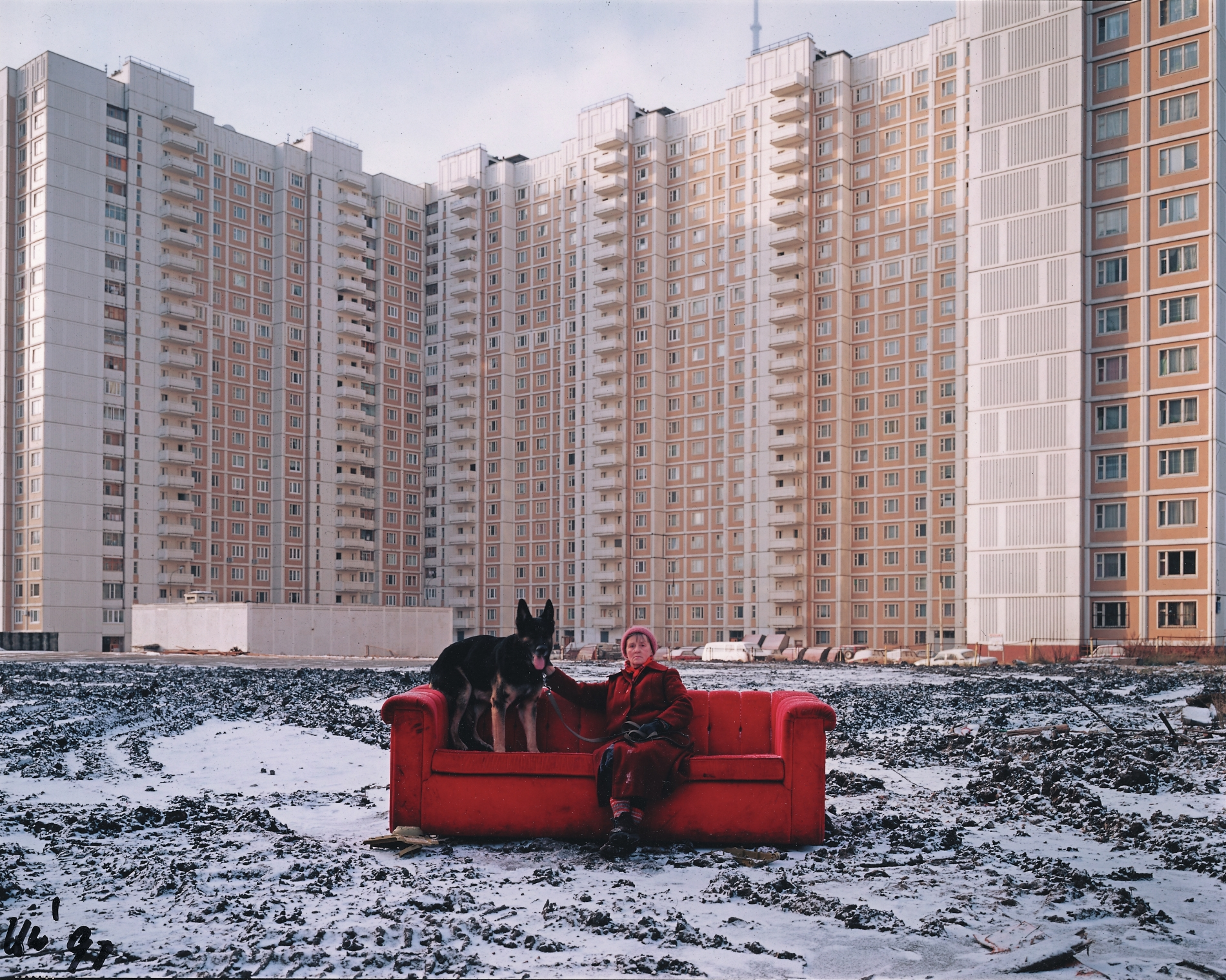 Horst Wackerbarth / Nina Sharova: from the video installation Happiness, 2013, and the Red Couch Project - A Gallery of Mankind